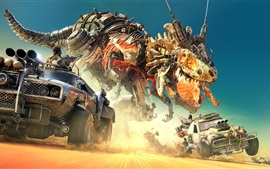 Preview wallpaper Desert, dinosaurs, robot, cars, game
