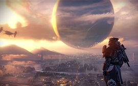 Preview wallpaper Destiny, city, planet, soldier