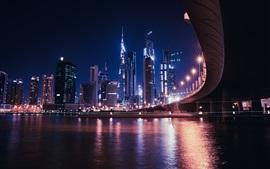 Дубай, ОАЭ, небоскребы, река, мост, огни, городская ночь