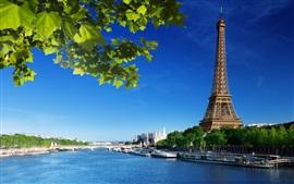 Эйфелева башня, река Сена, мост, Париж, Франция