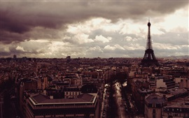 Preview wallpaper Eiffel Tower, city, top view, clouds, dusk, Paris, France
