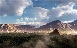 Fantasy design, pyramid, canyons, mountains, planet, trees, clouds