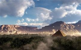 壁紙のプレビュー ファンタジーデザイン、ピラミッド、渓谷、山々、惑星、木々、雲