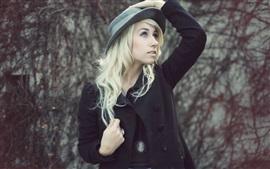 Aperçu fond d'écran Fille de la mode, chapeau, manteau noir