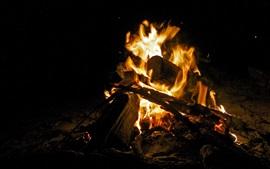 Огонь, костер, дрова, ночь