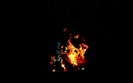 Preview wallpaper Fire, flame, firewood, darkness