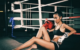 Preview wallpaper Fitness Asian girl, boxing