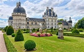 França, castelo, jardim, nuvens
