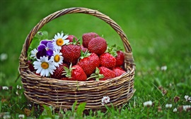 Preview wallpaper Fresh strawberries, basket, grass, flowers