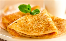 Preview wallpaper Fried pancakes, mint, breakfast