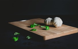 Preview wallpaper Garlic, cutting board, vegetables