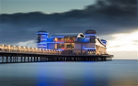 Preview wallpaper Grand Pier, buildings, sea, night, lights, England