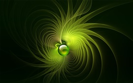 Preview wallpaper Green rotation bright lines background, ball, abstract