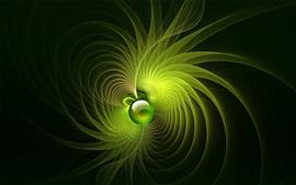 Fondo de líneas brillantes de rotación verde, bola, resumen