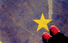 Preview wallpaper Ground, yellow star, red shoes