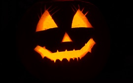 Preview wallpaper Halloween, pumpkin light, face, black background