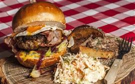 Hamburger, carne, vegetais, comida