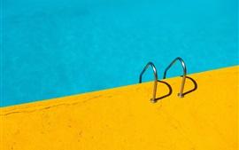Corrimão, piscina, azul e amarelo
