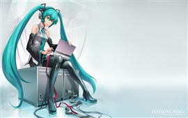 Hatsune Miku, blue hair anime girl use computer