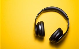 Preview wallpaper Headphones, yellow background