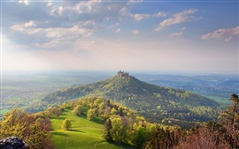 Preview wallpaper Hohenzollern Castle, Germany, mountains, forest, sky, clouds
