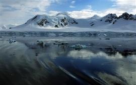 Hielo, nieve, agua, nubes, Antártida