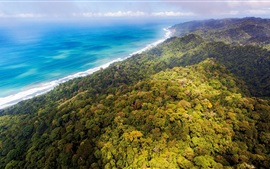 Jungles, forêt, côte, mer bleue, nuages, Costa Rica