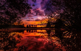 Preview wallpaper Lake, clouds, trees, twigs, sunset, red sky