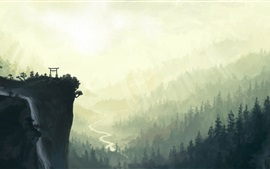 Preview wallpaper Landscape watercolor painting, cliff, torii, mountains, waterfall, river, trees