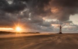Preview wallpaper Lighthouse, beach, sunset