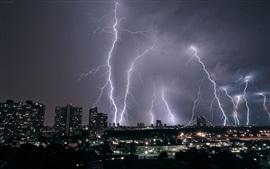 Relâmpago, cidade, noite, tempestade