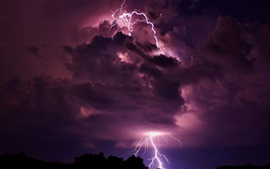 Lightning, clouds, night, nature power