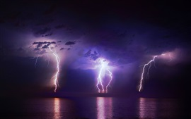 Lightning, clouds, night, sea, weather