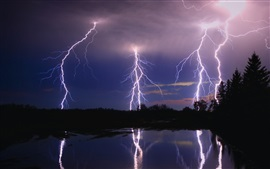 Lightning, night, trees, lake, water