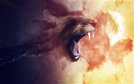 León rugido, imagen de arte digital