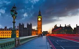Londres, Inglaterra, Big Ben, rua, nuvens, noite