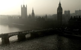 London, bridge, river, Big Ben, morning, mist, England