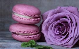 Macaron, food, purple rose