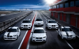 Preview wallpaper Many BMW white cars, speed, road