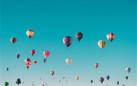 Many hot air balloons flight, sky, colorful