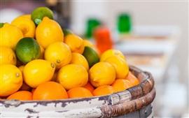 Aperçu fond d'écran Beaucoup de citrons, fruits, panier
