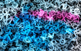 Preview wallpaper Many letters, blue and purple colors