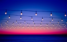 Many light bulbs, wire, sunset