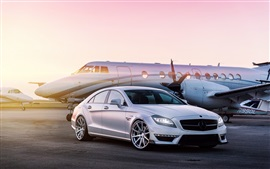 Preview wallpaper Mercedes-Benz white car, airport