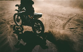 Motorcycle, sports, sands, dust