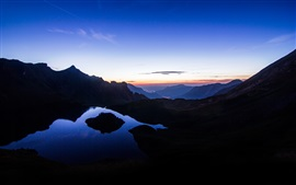 Preview wallpaper Mountains, lake, morning, sunrise, nature landscape