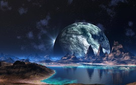 Mountains, lake, planet, creative design