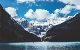 Mountains, lake, snow, blue sky, white clouds