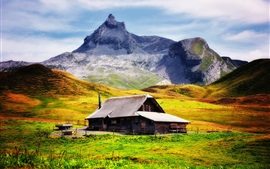Preview wallpaper Mountains, slope, house, grass, farm