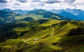 Preview wallpaper Nature landscape, mountains, road, trees, green, sky, clouds